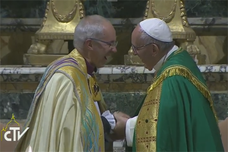 CTV-Pope -Francis -Archbishop -Welby -Iarccum -Vespers -161005