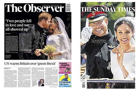 180520-Observer -Sunday -Times -front -pages -royal -wedding -Prince -Harry -Meghan -Markle -Duke -Duchess -Sussex _460x 307
